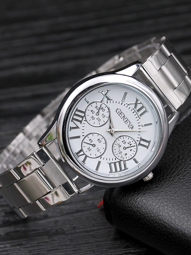 Women's Quartz Watches Quartz Stylish Fashion Adorable Silver Analog - Golden+Black Golden+White Silver / Black One Year Battery Life