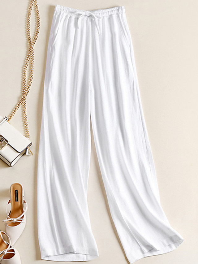 Women's Basic Loose Cotton Wide Leg Chinos Pants - Solid Colored White Black Beige S / M / L
