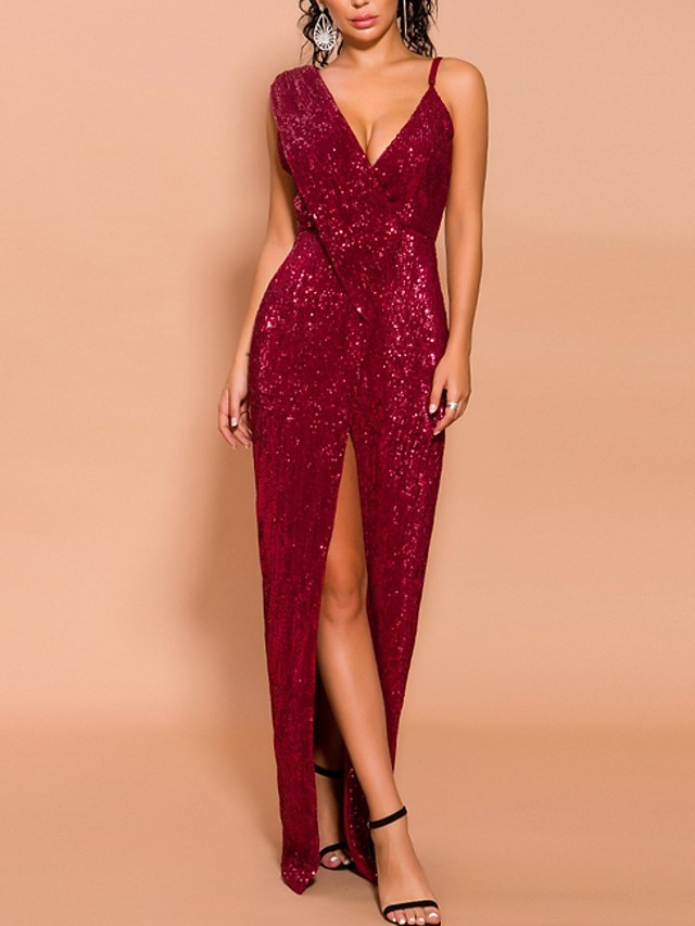 $102.89 Sheath Column V-Neck High Low Sequined dress with