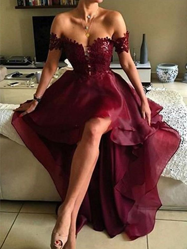 A-Line Beautiful Back Sexy Homecoming Cocktail Party Valentine's Day Dress Off Shoulder Sleeveless Asymmetrical Polyester with Ruffles Appliques 2021