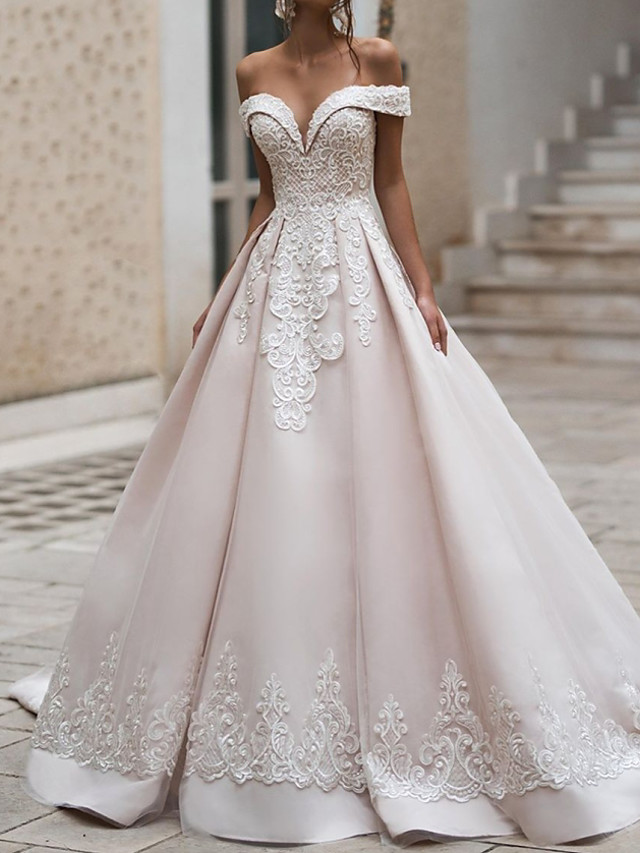 Ball Gown Wedding Dresses Off Shoulder Court Train Polyester Cap Sleeve Country Plus Size with Appliques 2021