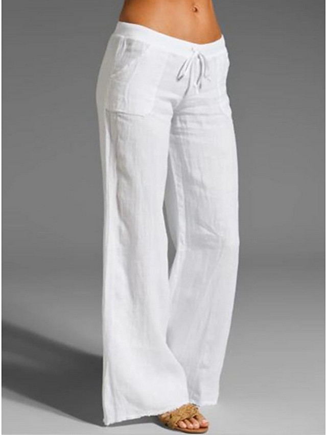 Women's Basic Loose Chinos Pants Solid Colored White Black Blue S M L / Cotton