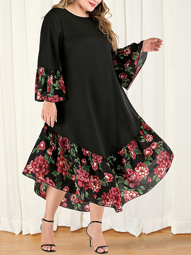 Women's Plus Size Maxi A Line Dress - Long Sleeve Floral Color Block Solid Color Patchwork Casual Boho Daily Going out Flare Cuff Sleeve Belt Not Included Loose Black L XL XXL XXXL XXXXL / Retro