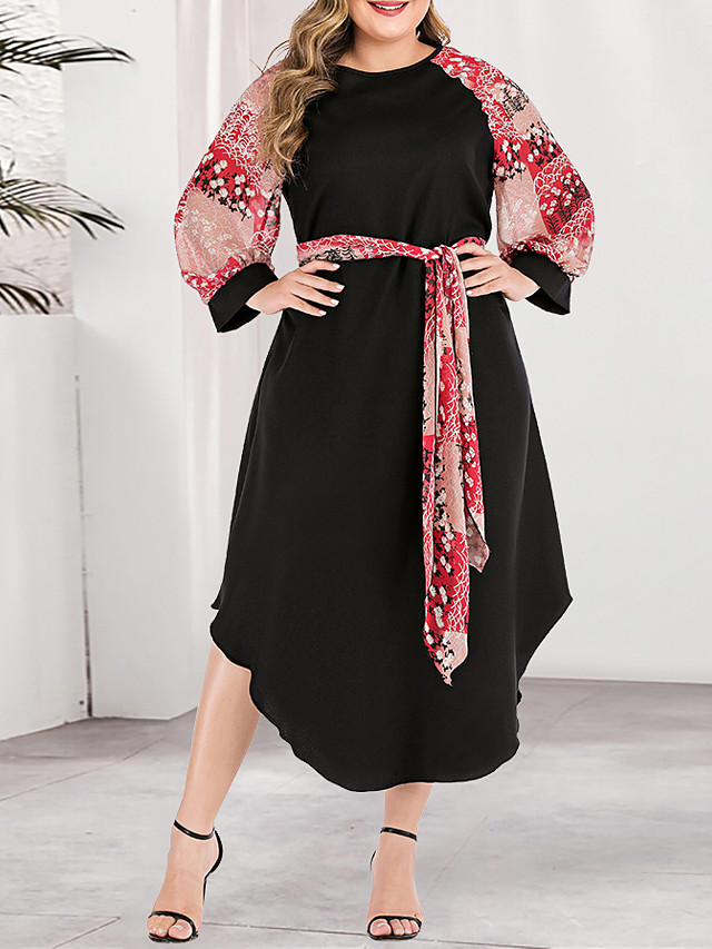 Women's Plus Size Asymmetrical A Line Dress - Long Sleeve Color Block Solid Color Print Spring & Summer Fall & Winter Casual Boho Daily Going out Blushing Pink L XL XXL XXXL XXXXL