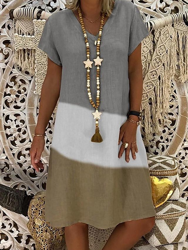 Naisten A-linjainen mekko Polvipituinen mekko - Lyhythihainen Color Block Kesä V kaula-aukko Pluskoko Vapaa-aika 2020 Musta Rubiini Harmaa S M L XL XXL 3XL 4XL 5XL