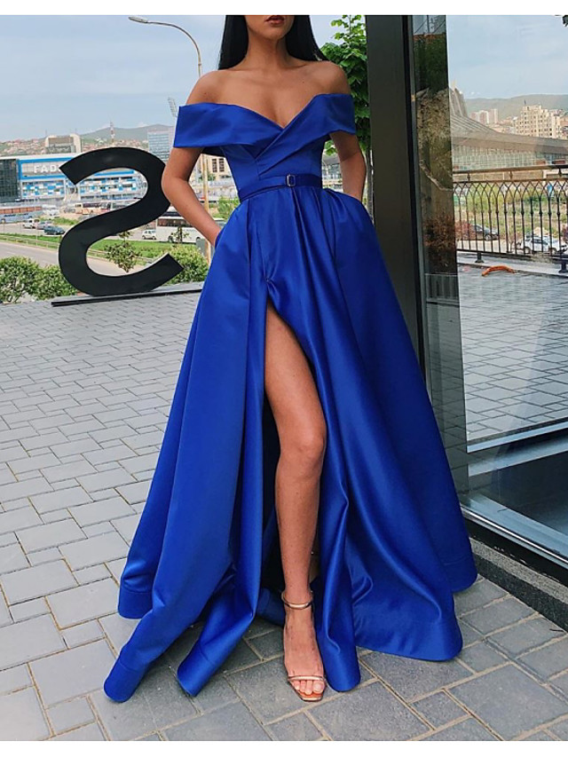 Ball Gown Minimalist Sexy Party Wear Prom Dress Off Shoulder Short Sleeve Sweep / Brush Train Satin with Sash / Ribbon Pleats Split 2020