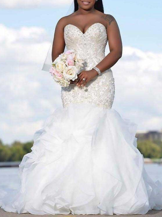 Mermaid / Trumpet Wedding Dresses Strapless Sweep / Brush Train Organza Sleeveless Country Plus Size with Beading Cascading Ruffles 2020