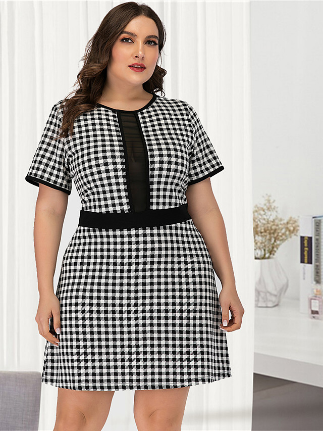 Women's Plus Size Black & White A Line Dress - Short Sleeves Check Mesh Patchwork Sexy Street chic Daily Going out Belt Not Included Black L XL XXL XXXL XXXXL