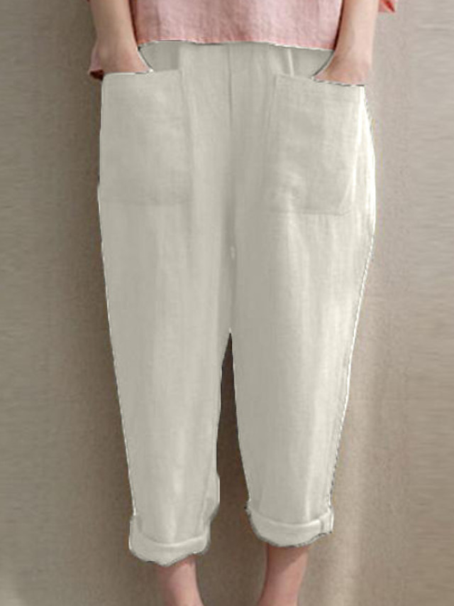Women's Basic Plus Size Loose Cotton Chinos Pants - Solid Colored White Black Blue S / M / L