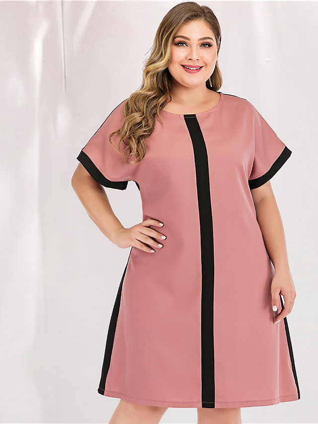 Women's Plus Size Maxi A Line Dress - Long Sleeve Color Block Solid Color Patchwork Spring & Summer Casual Street chic Party Going out Loose Blushing Pink L XL XXL XXXL
