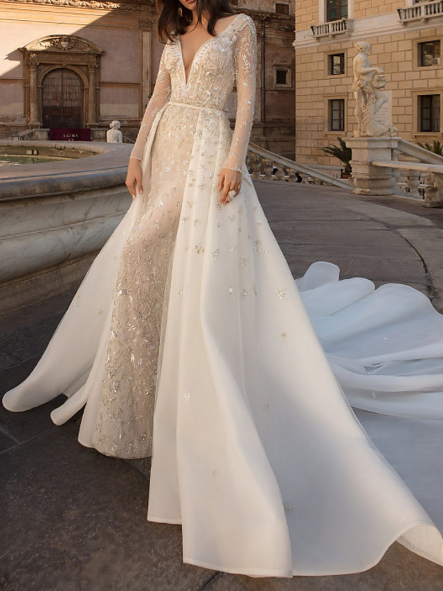 Sheath / Column Wedding Dresses V Neck Watteau Train Tulle Long Sleeve Country Plus Size with Beading Draping Appliques 2020