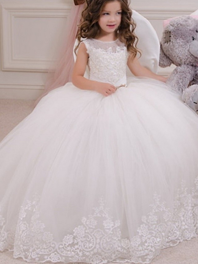 Ball Gown Floor Length Event / Party / Birthday Flower Girl Dresses - Polyester Sleeveless Jewel Neck with Appliques
