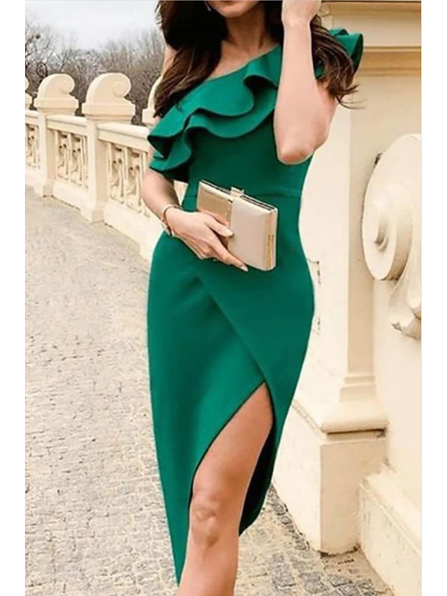 Sheath / Column Sexy Green Homecoming Cocktail Party Dress One Shoulder Sleeveless Asymmetrical Polyester with Ruffles Split 2020
