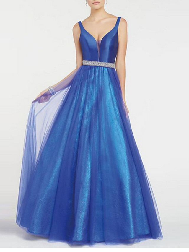 Ball Gown Luxurious Blue Quinceanera Prom Dress Spaghetti Strap Sleeveless Floor Length Polyester with Sash / Ribbon 2020