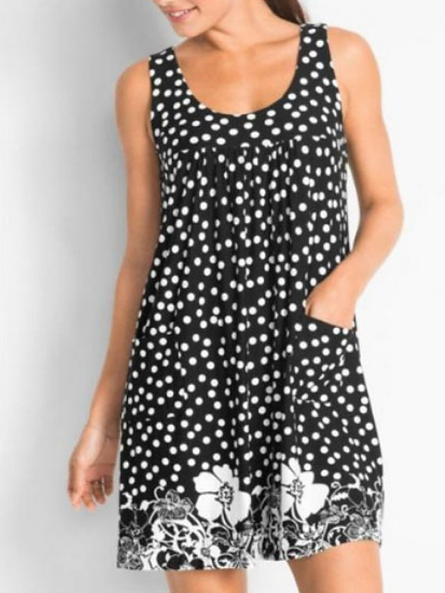 Women's Sheath Dress - Sleeveless Polka Dot Floral Strap Wine Black Blue Green L XL XXL XXXL