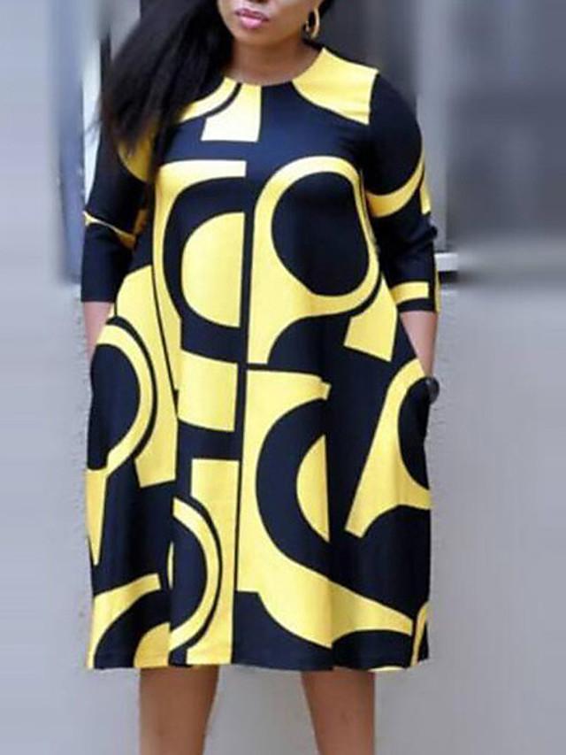 Women's Plus Size Dress Shift Dress Midi Dress 3/4 Length Sleeve Plaid Letter Streetwear White Purple Yellow XL XXL 3XL 4XL