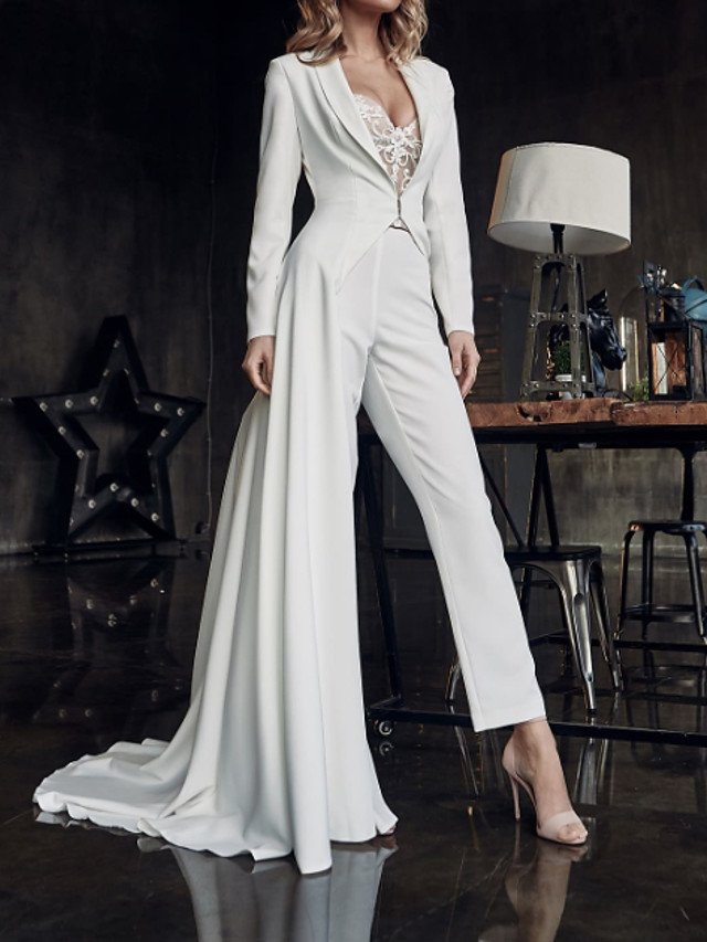 Two Piece Jumpsuits Wedding Dresses V Neck Sweep / Brush Train Stretch Satin Long Sleeve Country Plus Size with Lace Crystal Brooch 2020 / Yes