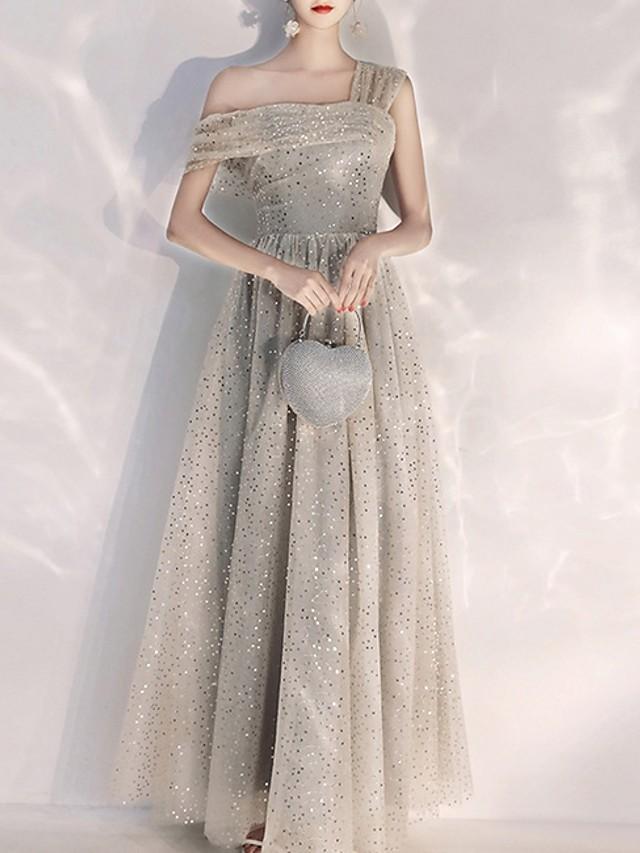A-Line Sparkle Grey Prom Formal Evening Dress One Shoulder Short Sleeve Floor Length Polyester with Sequin 2020