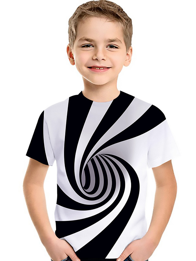 Kids Toddler Boys' Active Basic Black & White Rubik's Cube Geometric Color Block 3D Print Short Sleeve Tee White