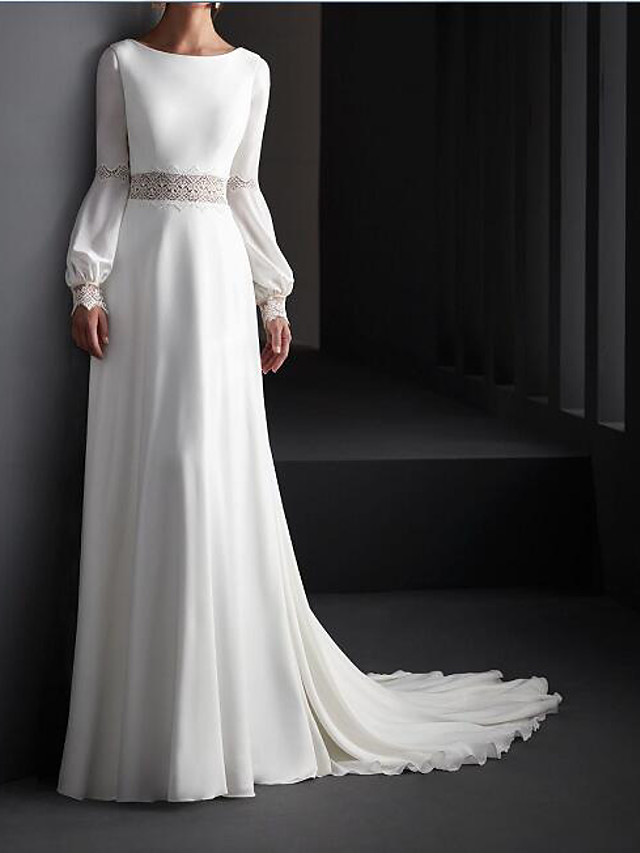 A-Line Wedding Dresses Jewel Neck Sweep / Brush Train Lace Satin Long Sleeve Country Plus Size with Lace 2020
