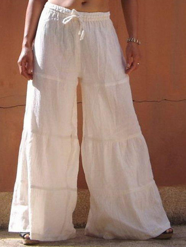 Women's Basic Loose Cotton Wide Leg Pants - Solid Colored White Black Blue S / M / L