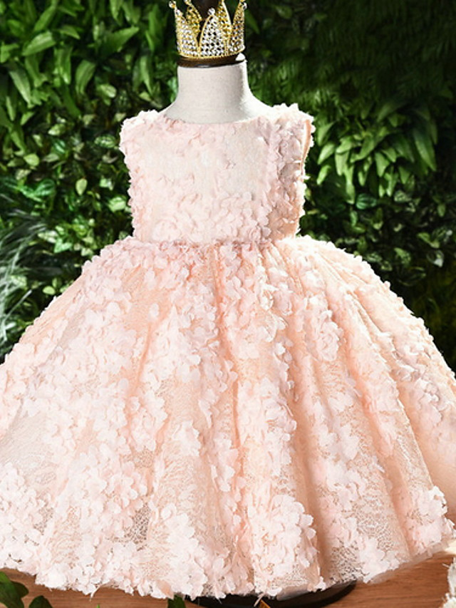 Ball Gown Short / Mini Event / Party / Birthday Flower Girl Dresses - Polyester Sleeveless Jewel Neck with Appliques