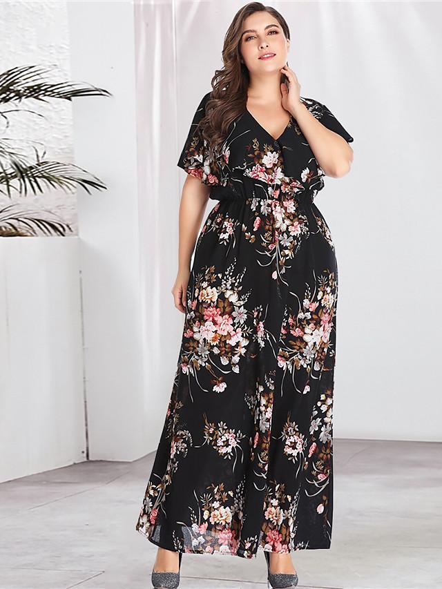 Women's Plus Size Maxi A Line Dress - Long Sleeve Floral Print Spring & Summer V Neck Boho Street chic Daily Going out Flare Cuff Sleeve Black XL XXL XXXL XXXXL XXXXXL