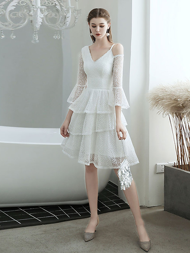 A-Line Hot White Homecoming Cocktail Party Dress V Neck 3/4 Length Sleeve Knee Length Tulle with Tier 2020