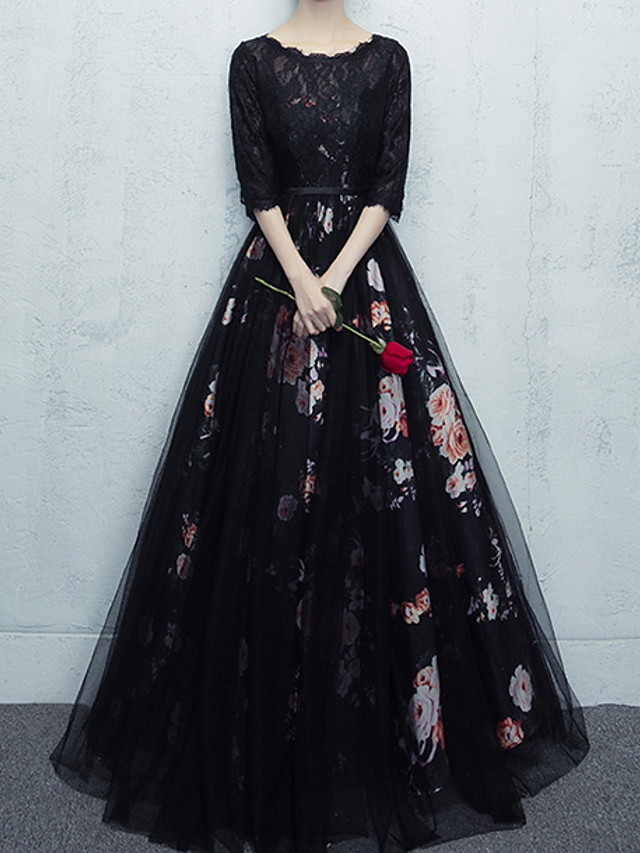 Ball Gown Floral Black Quinceanera Prom Dress Scalloped Neckline Half Sleeve Floor Length Polyester with Pattern / Print 2020