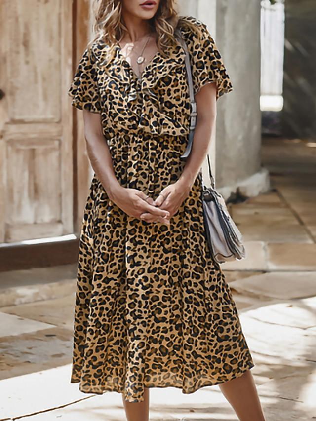 Women's Sundress Midi Dress - Short Sleeves Leopard Print Summer V Neck Holiday Khaki S M L XL