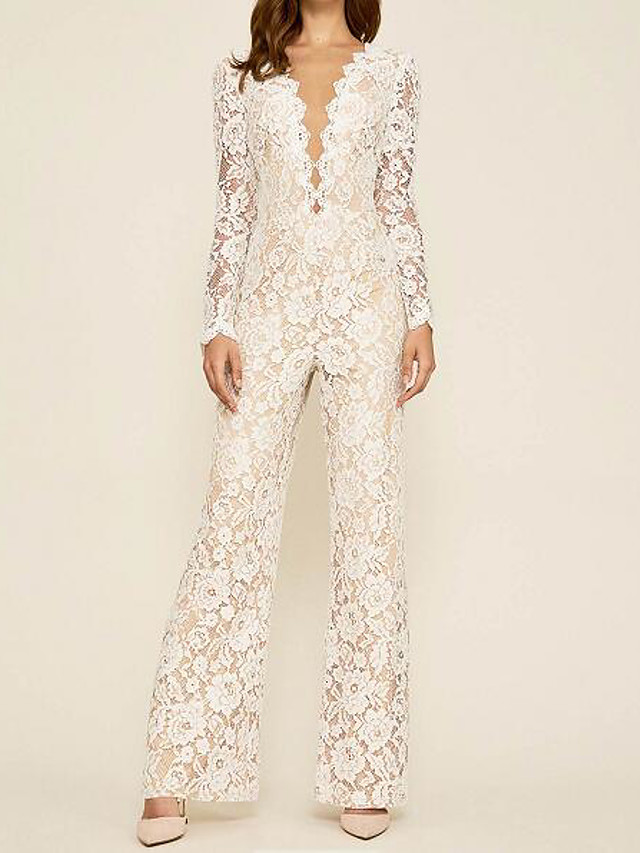 Jumpsuits Wedding Dresses Plunging Neck Floor Length Lace Long Sleeve Country Plus Size with Lace Embroidery 2020