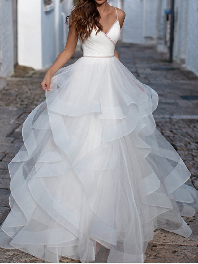 Ball Gown Wedding Dresses V Neck Spaghetti Strap Floor Length Organza Sleeveless Country Plus Size with Cascading Ruffles 2020