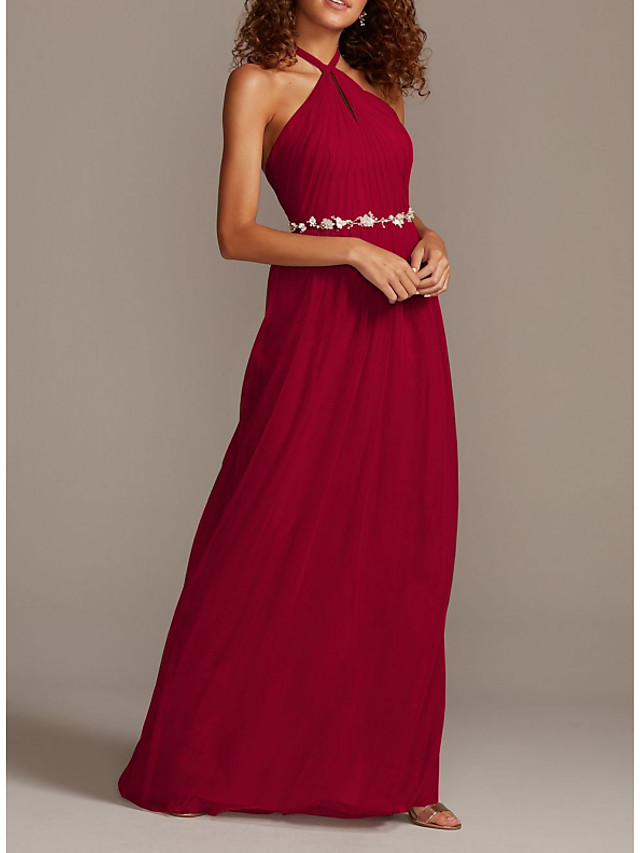 Sheath / Column Halter Neck Floor Length Chiffon Bridesmaid Dress with Sash / Ribbon / Pleats