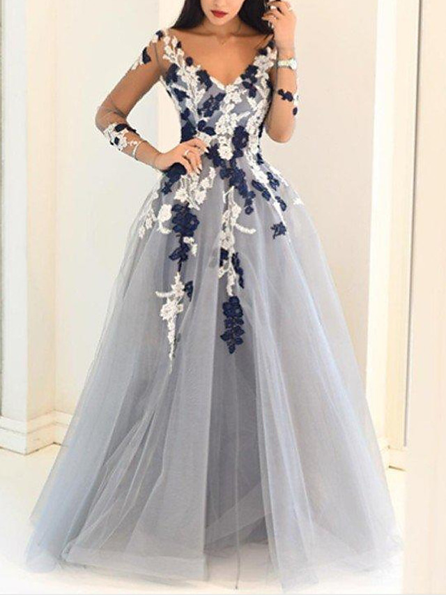 Ball Gown Floral Engagement Prom Dress V Neck Long Sleeve Floor Length Polyester with Appliques 2020 / Illusion Sleeve