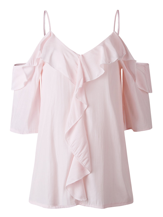 Women's Going out Weekend Sexy EU / US Size Blouse - Solid Colored Dusty Rose, Cut Out Off Shoulder Blushing Pink