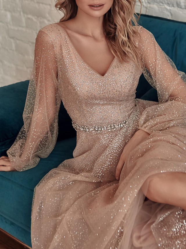 A-Line Glittering Maxi Party Wear Prom Dress V Neck Long Sleeve Floor Length Tulle Sequined with Sash / Ribbon Sequin 2020