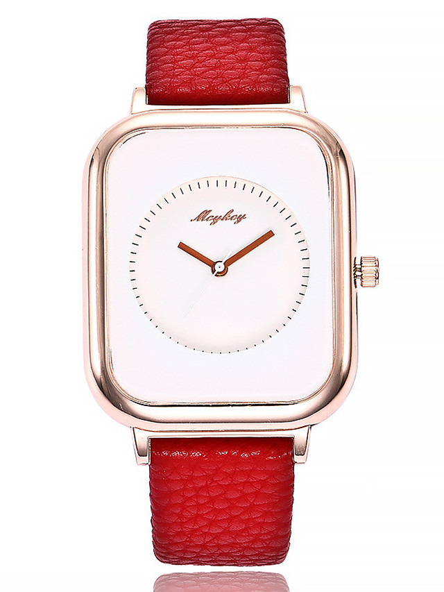 Women's Quartz Watches Quartz Stylish Fashion Casual Watch PU Leather Black / Red Analog - White / Black White+Red Golden+Black One Year Battery Life