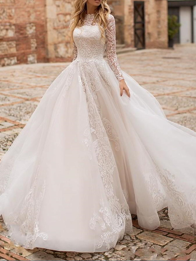 Ball Gown A-Line Wedding Dresses High Neck Court Train Lace Organza Long Sleeve Country Plus Size with Lace Buttons Embroidery 2020