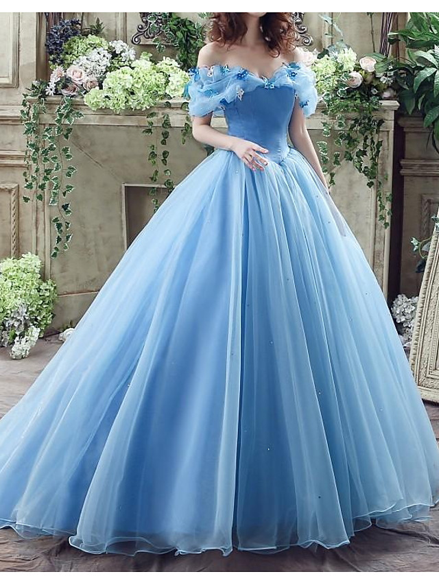 Ball Gown Wedding Dresses Off Shoulder Floor Length Polyester Short Sleeve Country Plus Size with Lace Insert Appliques 2020