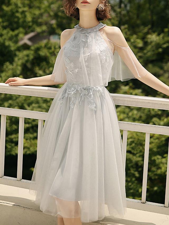 A-Line Halter Neck Tea Length Tulle Bridesmaid Dress with Pleats / Illusion Sleeve