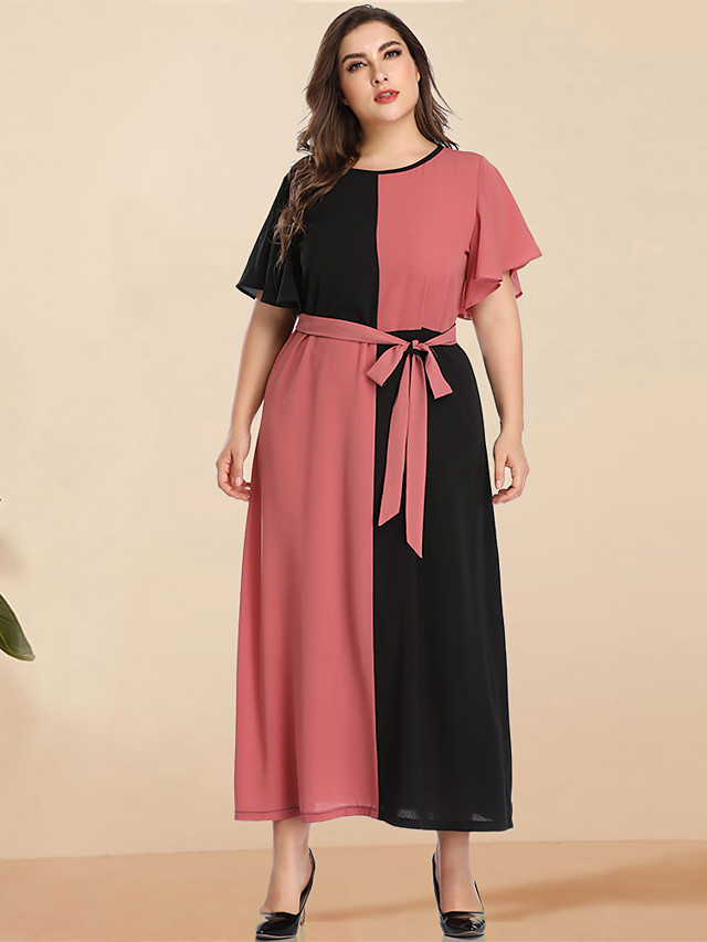 Women's Plus Size Maxi Black & Red A Line Dress - Long Sleeve Color Block Solid Color Patchwork Spring & Summer Casual Elegant Daily Going out Flare Cuff Sleeve Blushing Pink L XL XXL XXXL XXXXL