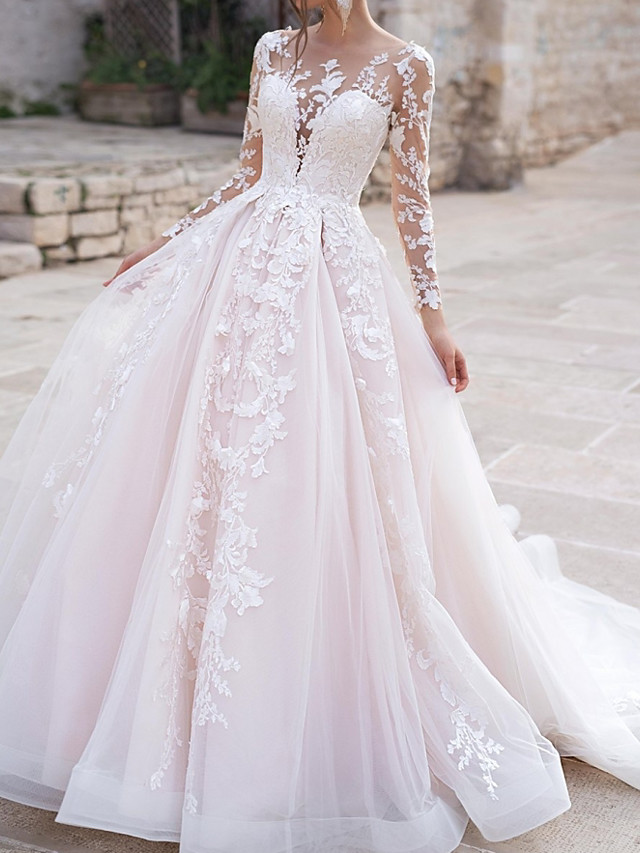 Ball Gown Wedding Dresses Jewel Neck Court Train Polyester Long Sleeve Country Plus Size with Appliques 2020