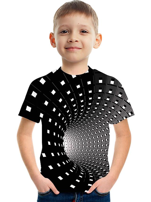 Дети Мальчики Активный Уличный стиль Контрастных цветов 3D С принтом С короткими рукавами Футболка Черный