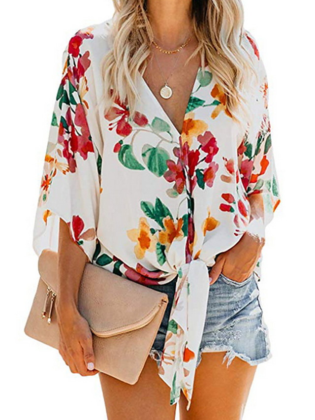 Women's Daily Shirt Floral Pattern Print Knotted Long Sleeve Tops V Neck White Yellow Orange