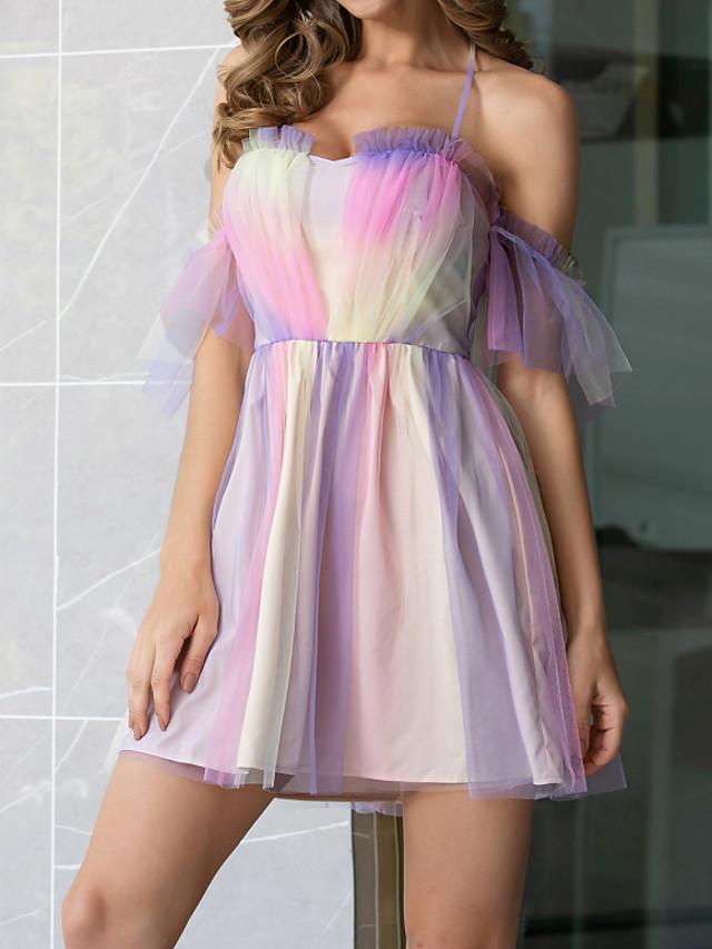 Womens Rainbow Mesh Mini Dress Square Neck Strap  MM0720