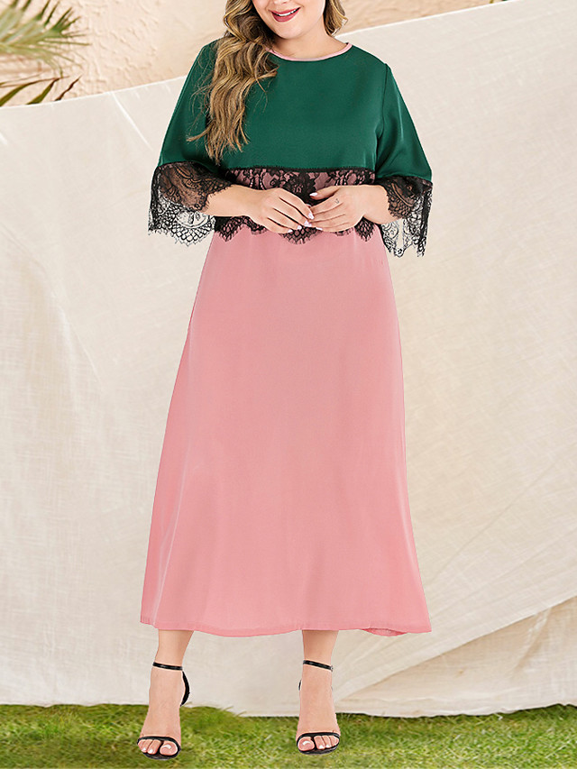Women's Plus Size Maxi Black & Red A Line Dress - Long Sleeve Color Block Lace Patchwork Spring & Summer Fall & Winter Casual Elegant Daily Going out Flare Cuff Sleeve Loose Blushing Pink L XL XXL