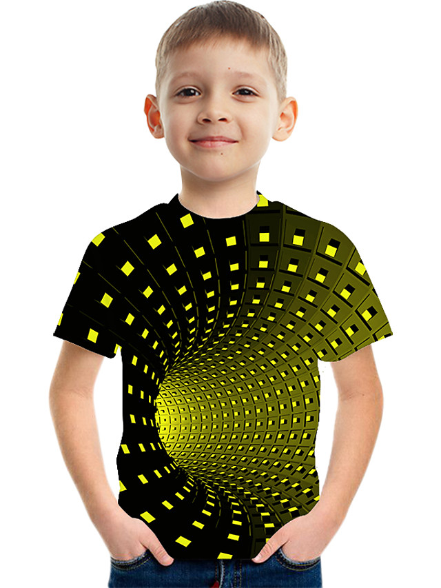 Kids Boys' Basic Street chic Color Block 3D Rainbow Print Short Sleeve Tee Yellow