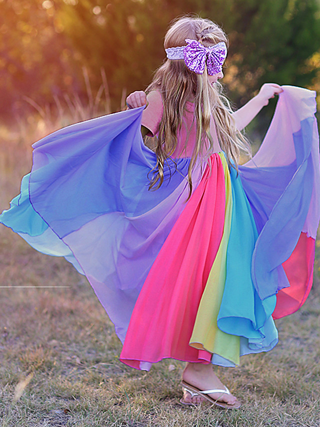 Kids Toddler Girls' Sweet Cute Color Block Solid Colored Patchwork Short Sleeve Maxi Dress Fuchsia