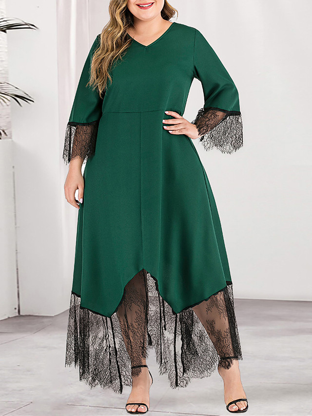 Women's Plus Size Maxi A Line Dress - Long Sleeve Solid Color Lace Spring & Summer Fall & Winter V Neck Deep U Casual Elegant Party Daily Flare Cuff Sleeve Belt Not Included Green L XL XXL XXXL XXXXL