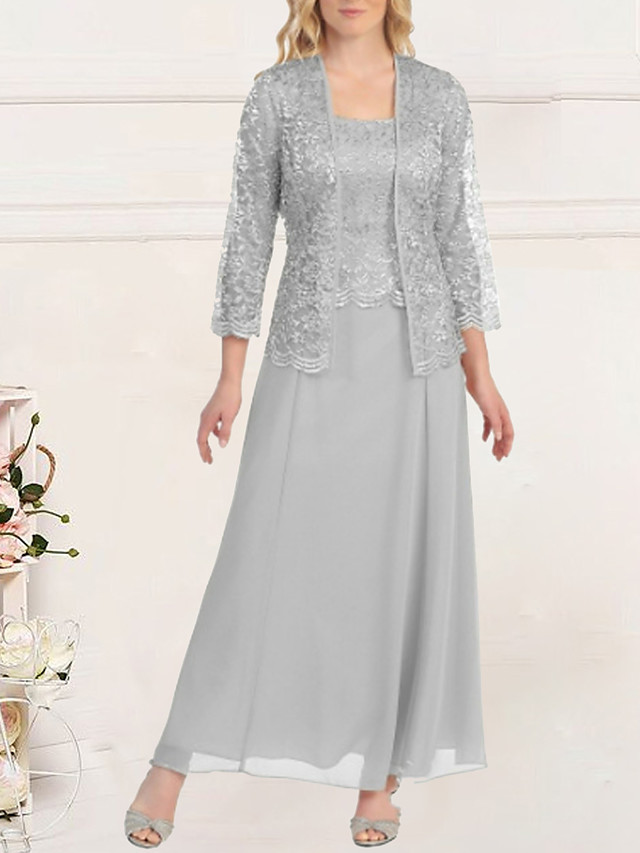 Sheath / Column Empire Elegant Wedding Guest Formal Evening Dress Scoop Neck Long Sleeve Floor Length Lace with Lace Insert 2020